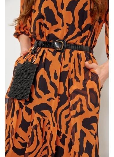 Setre Siyah-Beyaz Kemerli Zebra Desen Elbise Oranj